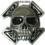 Death Skull - Heavy Belt Buckle + display stand